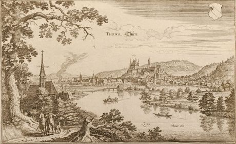 Antique Maps, Merian, Switzerland, Thun, 1645: Thuna. Thun.