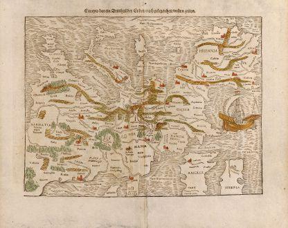 Antike Landkarten, Münster, Europa Kontinent, 1545: Europa, das ein Drittheil der Erden, nach gelegenheit unsern zeiten.