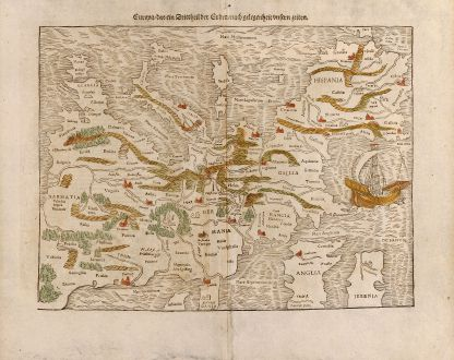 Antique Maps, Münster, Europe Continent, 1545: Europa, das ein Drittheil der Erden, nach gelegenheit unsern zeiten.
