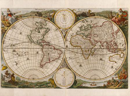 Antike Landkarten, Stoopendaal, Weltkarten, 1690: Werelt Caert