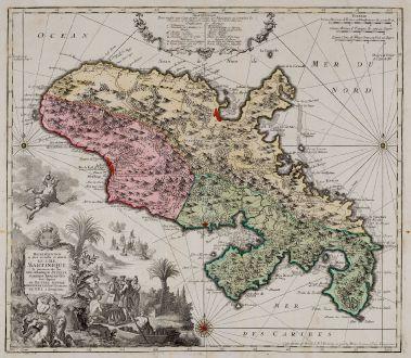 Antique Maps, Seutter, Central America - Caribbean, Martinique, 1745: Representation la Plus Nouvelle et Exacte de l'Ile Martinique, la Premiere des Iles de l'Amerique Antilles