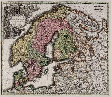 Antike Landkarten, Seutter, Skandinavien, 1744: Synopsis Plagae Septentrionalis Sueciae Daniae et Norwegiae Regn.