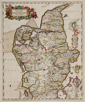 Antike Landkarten, de Wit, Dänemark, Jütland (Jylland), 1680: Iutiae tabula in qua sunt Dioeceses Alburgensis, Wiburgensis, Ripensis et Arhusiensis