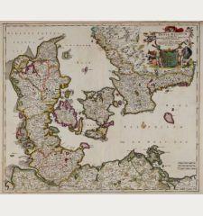 Dania regnum In quo sunt Ducatus Holsatia et Slesvicum Insulae Danicae et Provinciae Jutia, Scania, Blekingia et Hallandia