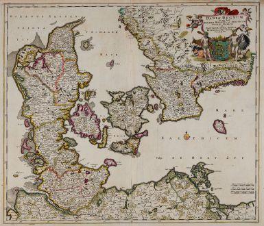 Antike Landkarten, de Wit, Dänemark, 1680: Dania regnum In quo sunt Ducatus Holsatia et Slesvicum Insulae Danicae et Provinciae Jutia, Scania, Blekingia et Hallandia