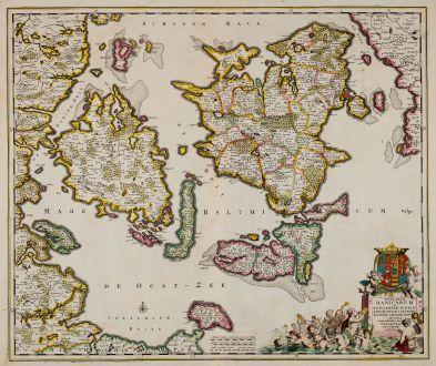 Antique Maps, de Wit, Denmark, Zealand, Funen, Lolland, 1680: Insularum Danicarum ut Zee-Landiae, Fioniae Langelandiae, Lalandiae Falstriae, Fembriae, Monae ...