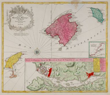 Antike Landkarten, Lotter, Spanien - Portugal, Balearen, Mallorca, Menorca, Ibiza: Carte des Isles de Maiorque Minorque et d' Yvice