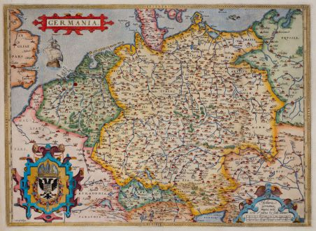 Antique Maps, Ortelius, Germany, 1571: Germania