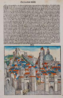 Antike Landkarten, Schedel, Frankreich, Metz, 1493: Metis