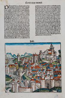 Antique Maps, Schedel, Italy, Pisa, 1493: Pisa