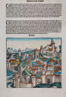 Antike Landkarten, Schedel, Frankreich, Toulouse, 1493: Tolosa