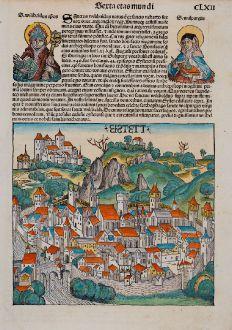 Antike Landkarten, Schedel, Deutschland, Bayern, Eichstätt, 1493: Eistett