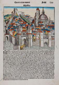 Antike Landkarten, Schedel, Frankreich, Marseille, 1493: Massilia