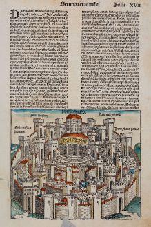 Antique Maps, Schedel, Holy Land, Jerusalem, 1493: Hierosolima