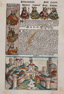 Antike Landkarten, Schedel, Heiliges Land, Korinth, Tiberias, 1493: Tyberias als Tyberiadis / Corinthus