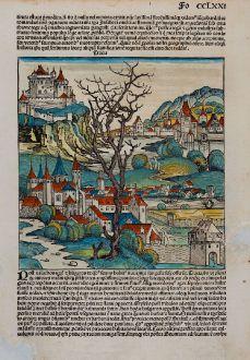 Antique Maps, Schedel, Turkey, Thrace, 1493: De turchis, Tracia