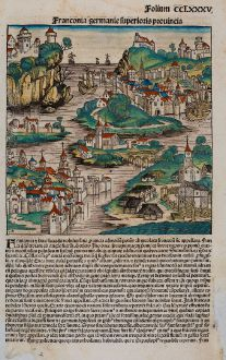 Antike Landkarten, Schedel, Deutschland, Bayern, Franken, 1493: Franconia germanie superioris prouincia
