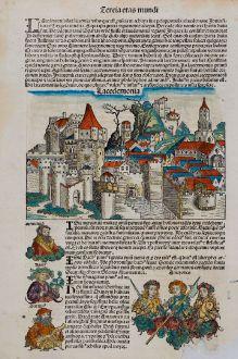 Antique Maps, Schedel, Greece, Peloponnese, Lakonia, Sparta, 1493: Lacedemonia