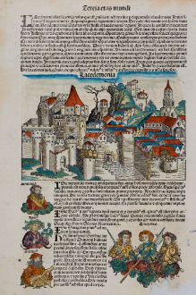 Antike Landkarten, Schedel, Griechenland, Peloponnes, Lakonien, Sparta, 1493: Lacedemonia