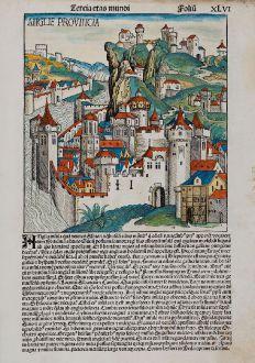 Antique Maps, Schedel, British Islands, England, 1493: Anglie Provincia