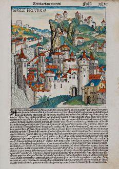 Antique Maps, Schedel, British Isles, England, 1493: Anglie Provincia