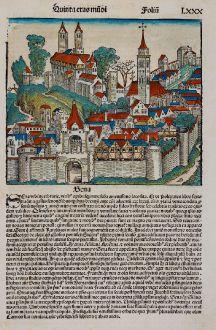 Antique Maps, Schedel, Italy, Tuscany, Siena, 1493: Sena