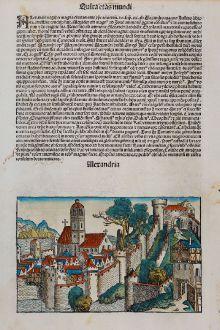 Antique Maps, Schedel, Egypt, Alexandria, 1493: Alexandria