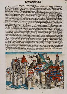 Antique Maps, Schedel, Egypt, Damietta, Dumyat, 1493: Damiata