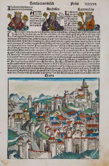 Antike Landkarten, Schedel, Türkei, Troja, 1493: Troya