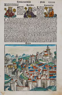 Antique Maps, Schedel, Turkey, Troy, 1493: Troya