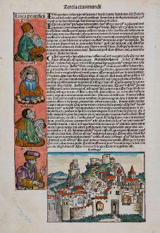 Antique Maps, Schedel, North Africa, Tunisia, Tunis, Carthage, 1493: Carthago