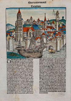 Antike Landkarten, Schedel, Italien, Venetien, Treviso, Aquileia, 1493: Taruisium / Aquileya