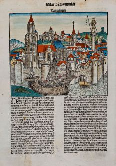 Antique Maps, Schedel, Italy, Veneto, Treviso, Aquileia, 1493: Taruisium / Aquileya