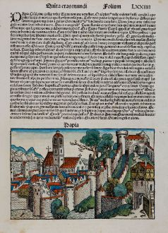 Antique Maps, Schedel, Italy, Lombardy, Pavia, 1493: Papia