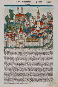 Antique Maps, Schedel, Italy, Naples, 1493: Neapolis
