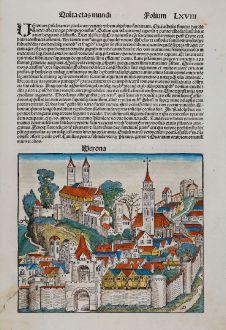 Antique Maps, Schedel, Italy, Verona, 1493: Verona