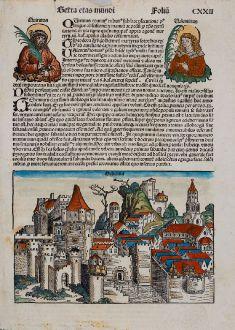 Antike Landkarten, Schedel, Schweiz, Genf, Geneve, 1493: Hebenna