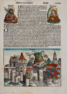 Antique Maps, Schedel, Switzerland, Geneva, Geneve, 1493: Hebenna