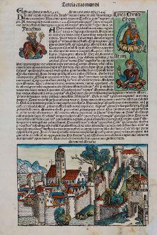 Antique Maps, Schedel, Greece, Athens, 1493: Athene vel Minerva