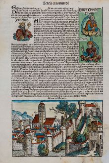 Antike Landkarten, Schedel, Griechenland, Athen, 1493: Athene vel Minerva