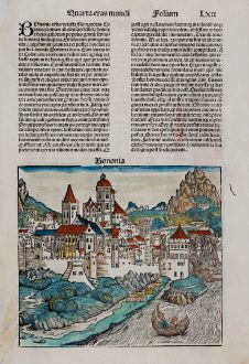 Antike Landkarten, Schedel, Italien, Konstantinopel, Istanbul, Byzanz, Bologna: Bononia / Bisantium