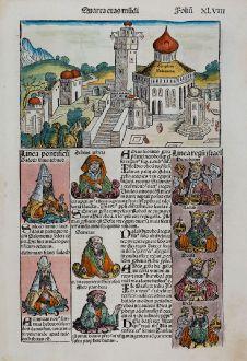 Antique Maps, Schedel, Holy Land, Perugia, Umbria, Solomon Temple, Jerusalem: Templum Salomonie / Perusia