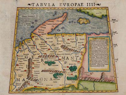 Antique Maps, Münster, Germany, 1542: Tabula Europae IIII