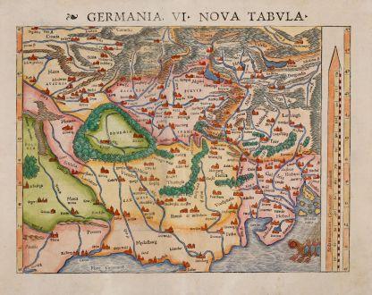 Antique Maps, Münster, Germany, 1542: Germania. VI Nova Tabula