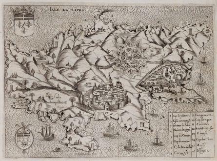 Antique Maps, Raigniauld, Cyprus, 1629 or 1640: Isle de Cipre