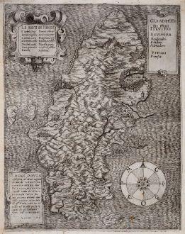 Antique Maps, Bonifacio, Greece, Rhodes, 1570: Rhodi Insula nobilissima nel Mare