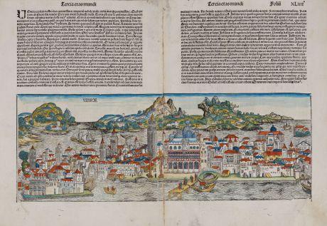Antike Landkarten, Schedel, Italien, Venezia, Venedig, 1493: Venecie