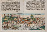 Kolorierte Holzschnitt-Ansicht von Konstanz, Bodensee, Baden-Württemberg. Gedruckt bei Anton Koberger im Jahre 1493 in Nürnberg.
