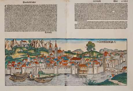 Antique Maps, Schedel, Germany, Baden-Württemberg, Lake Constance, Konstanz: Constancia