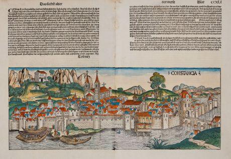 Antique Maps, Schedel, Germany, Baden-Württemberg, Lake Constance, Konstanz: Constancia